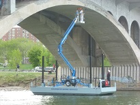 Barge with lift