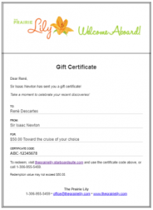 Prairie Lily gift certificate